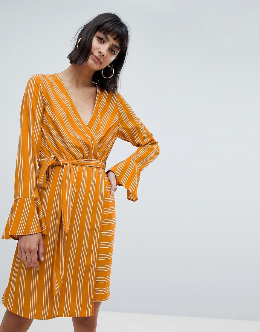 7cdba348c7 Lyst - Vero Moda Stripe Tie Wrap Midi Dress In Yellow in Yellow