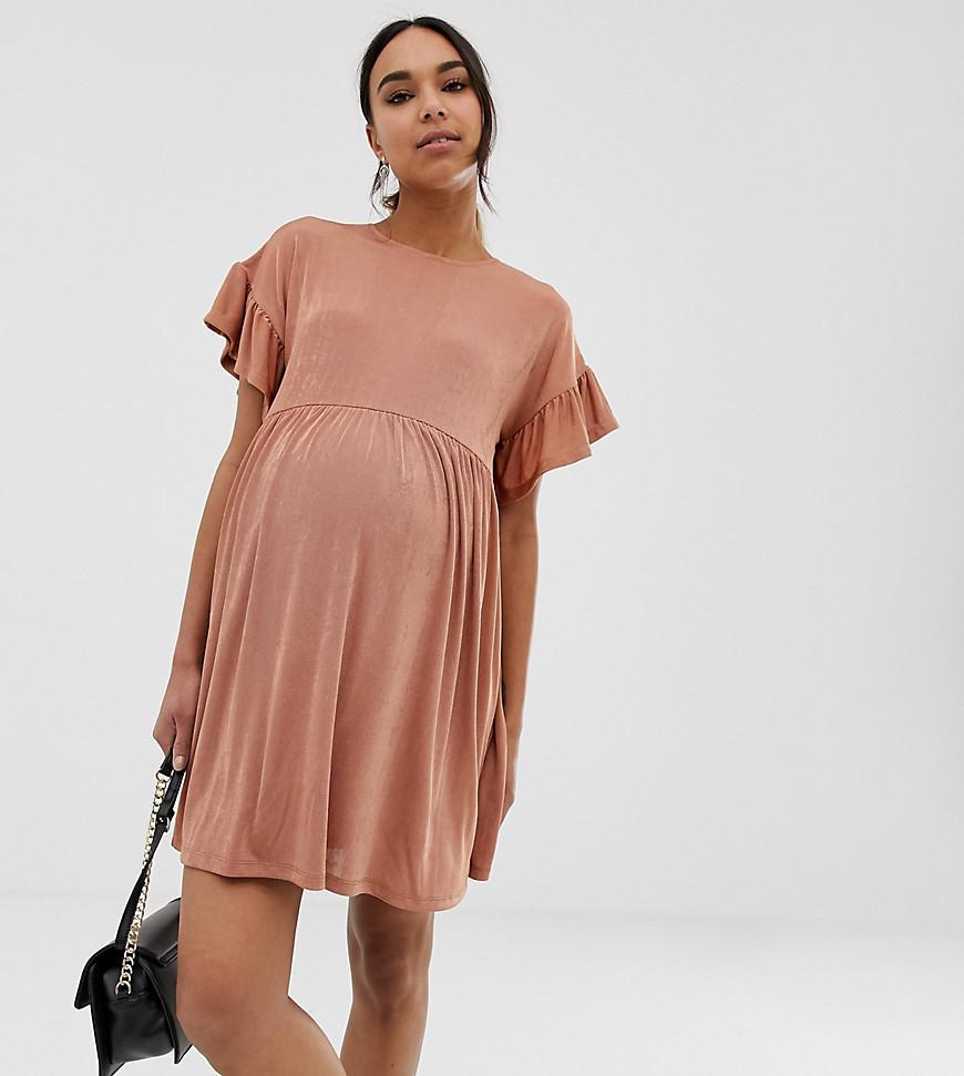1078c0759d4 ASOS. Women's Pink Asos Design Maternity Metallic Frill Sleeve Smock Dress