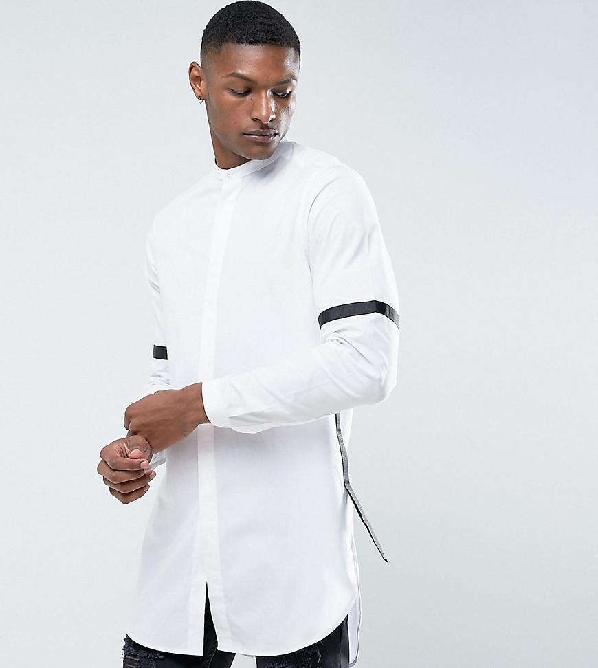 Clearance Online Fake DESIGN Plus Regular Fit Super Longline Shirt With Taping - White Asos 2018 Official For Sale yM7OzG