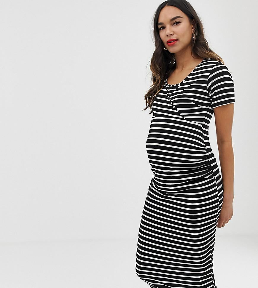 f3eaf71972943 Lyst - Bluebelle Maternity Striped Bodycon Dress With Wrap Over ...
