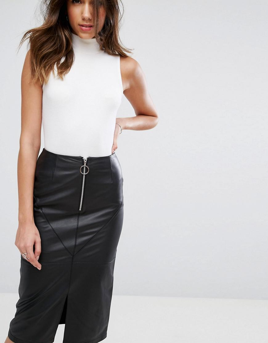 c47db6fcc ASOS Leather Pencil Skirt With Circle Zip Trim in Black - Lyst