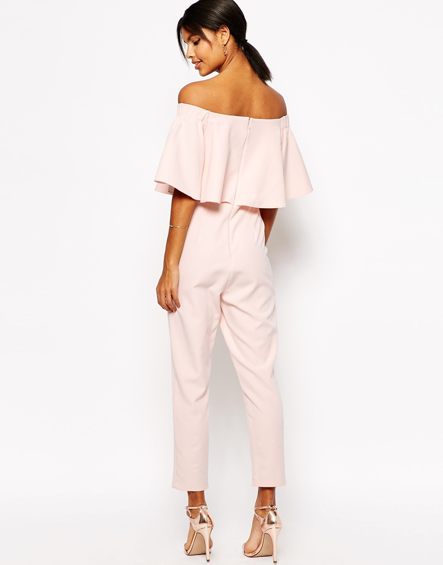 1ef67b3be3d1 Lyst - ASOS Tall Jumpsuit With Ruffle Bardot in Pink