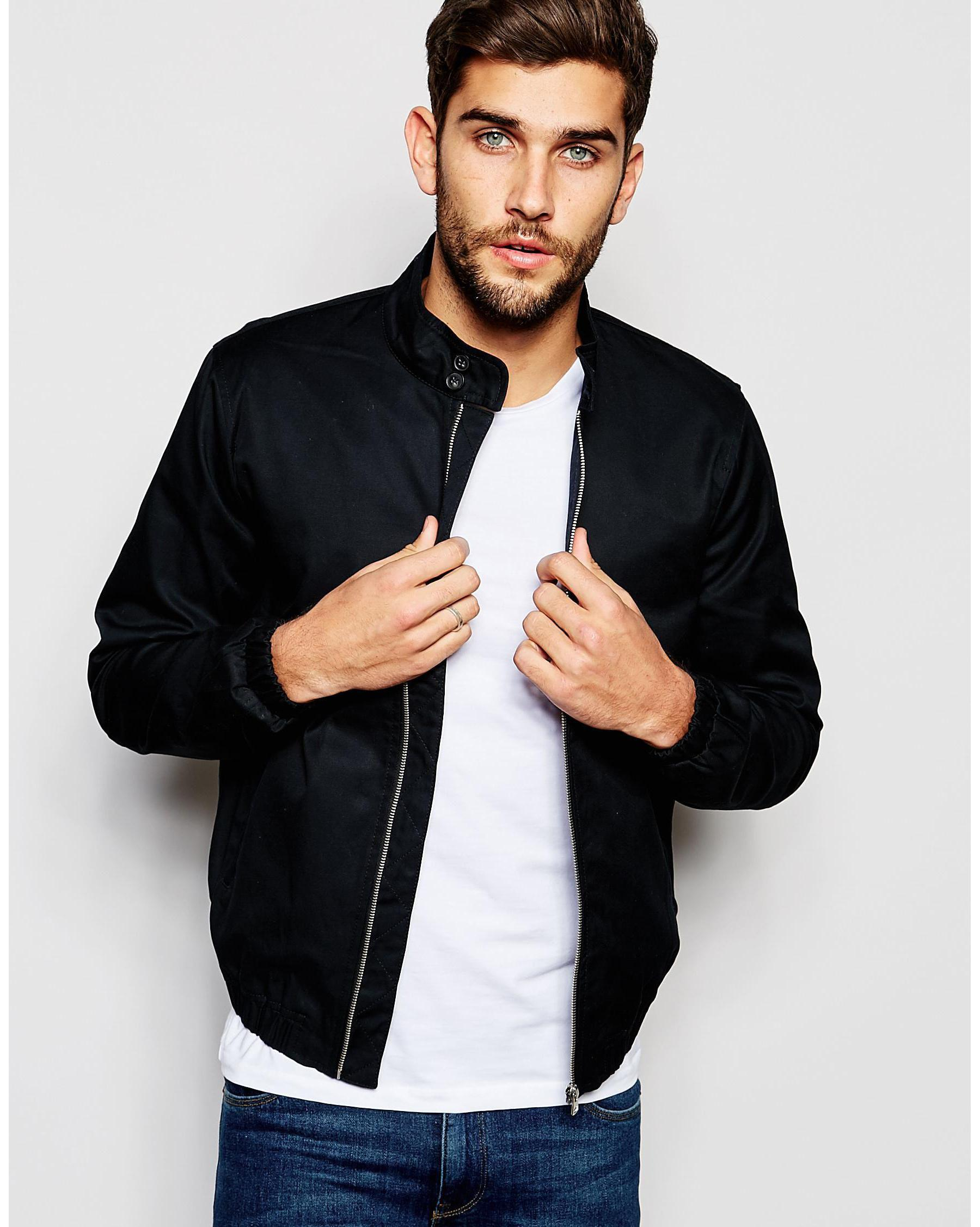 New look Harrington Jacket In Navy in Blue for Men