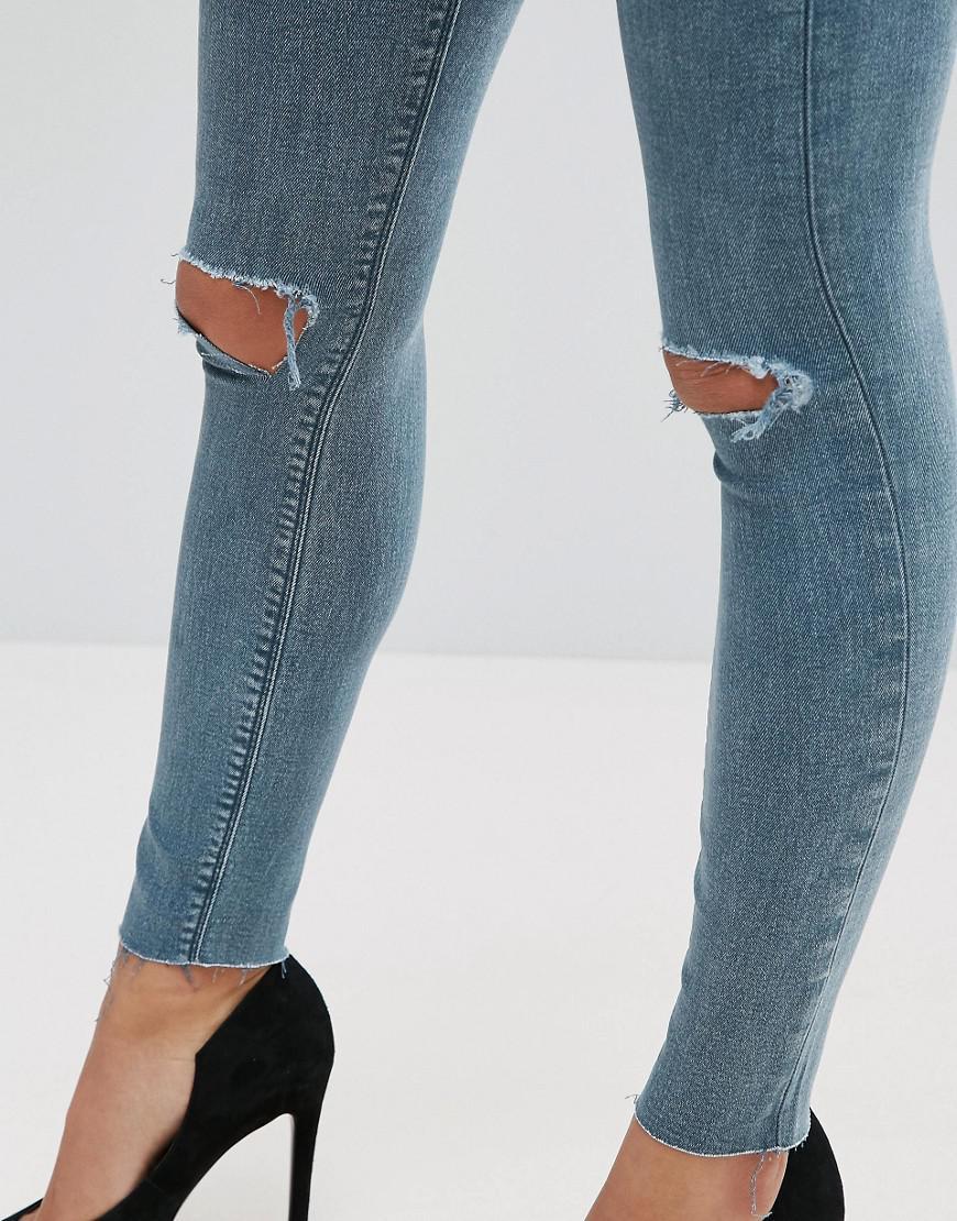 el Wash en de Azul rodillas refinar reventadas lavado dobladillo sin con Ridley Lela las medio y Jeans Skinny EwZWIv