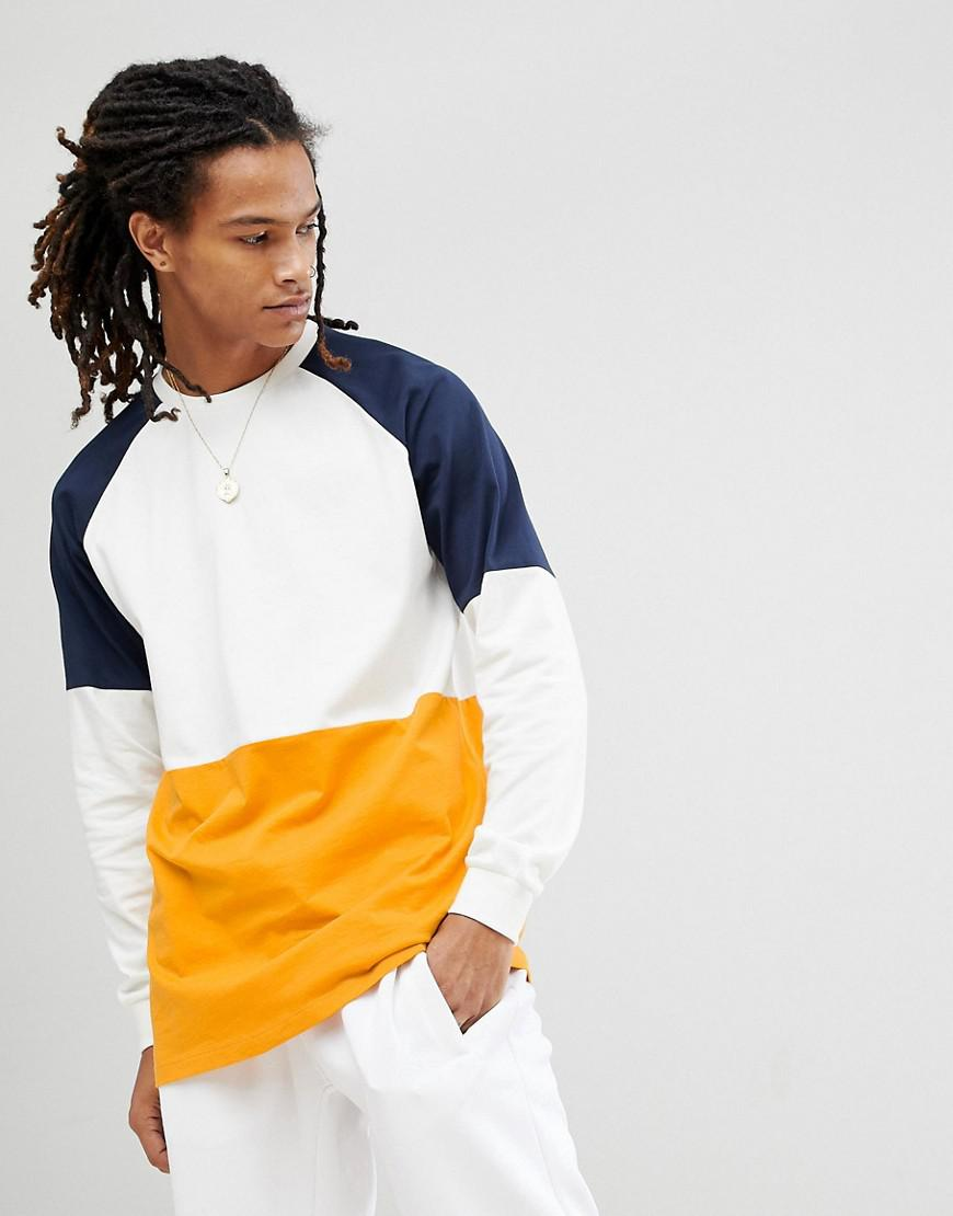 Cheap Sale Pre Order Extreme Oversized Super Longline Long Sleeve T-Shirt With Colour Block In White - White Asos Buy Online Cheap nvs4quqscg