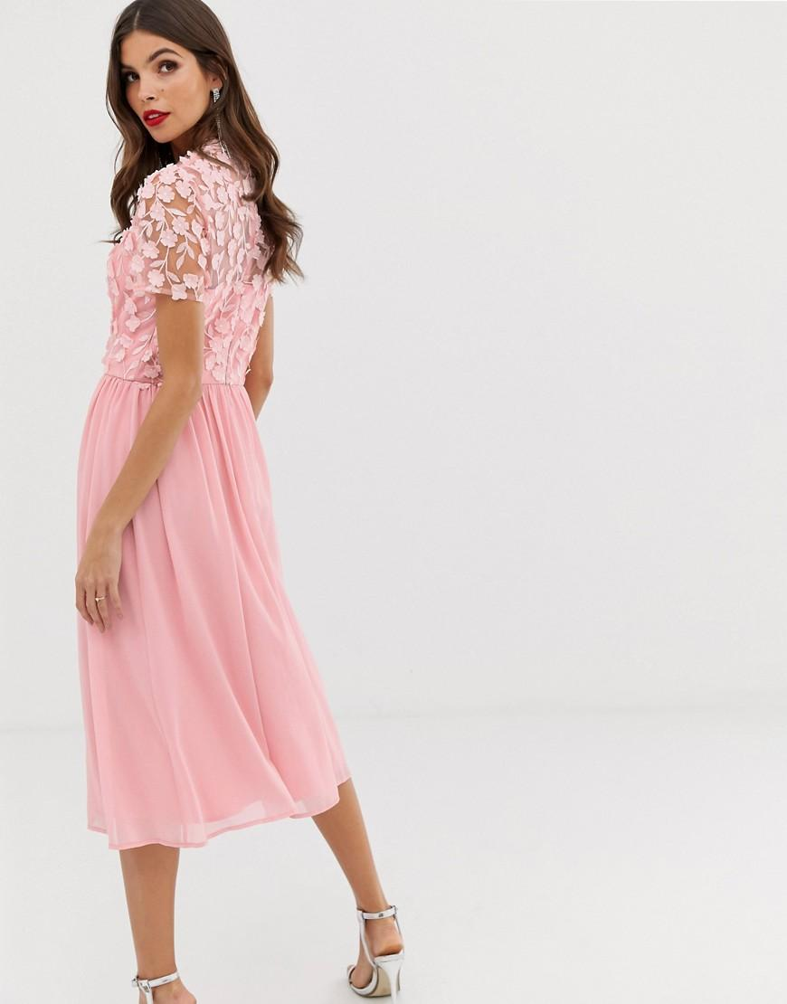 406169bc85e548 Chi Chi London 2 In 1 3d Applique Skater Dress With Tulle Skirt In Pink in  Pink - Lyst