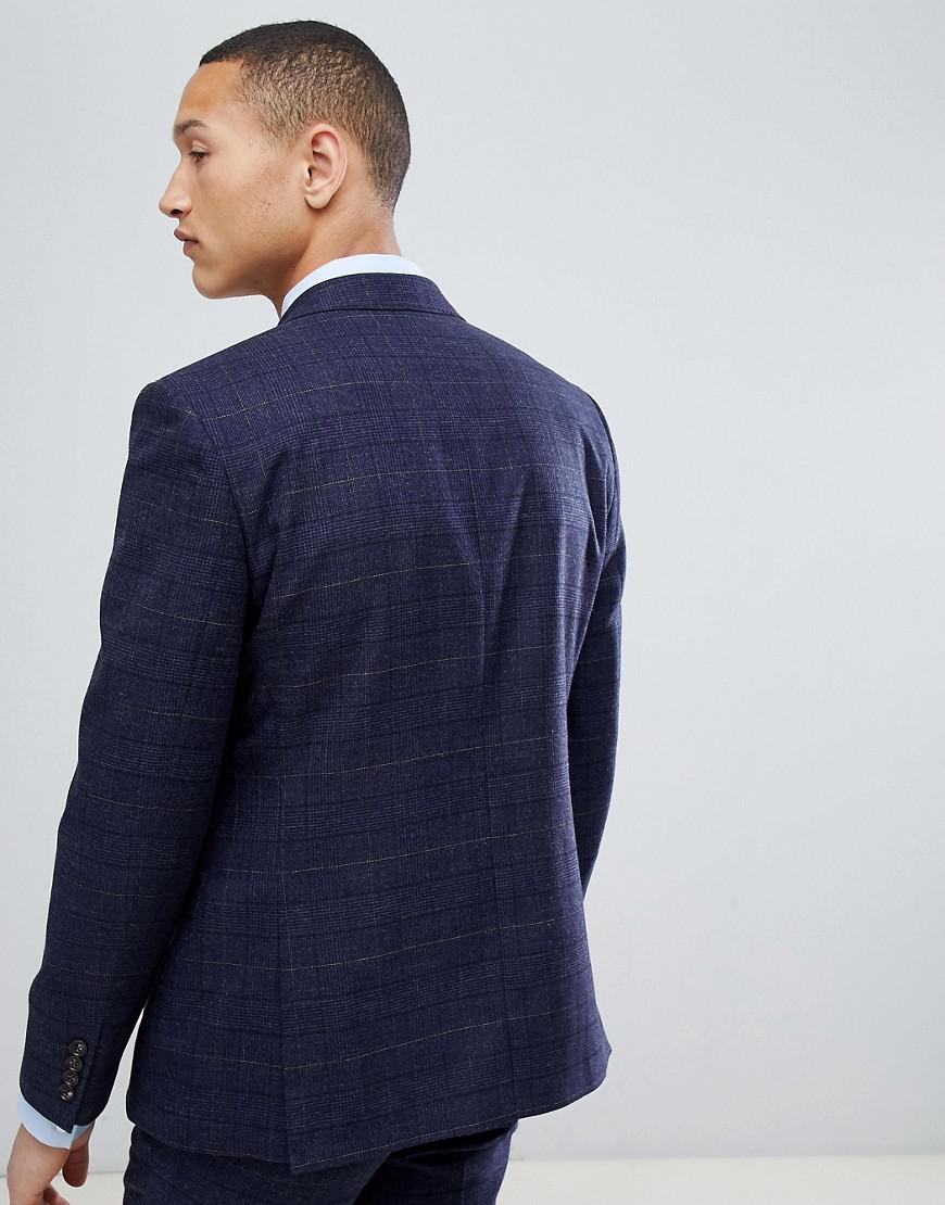 Lyst Moss Bros London Wedding Skinny Suit Jacket In Navy Check Blue For Men
