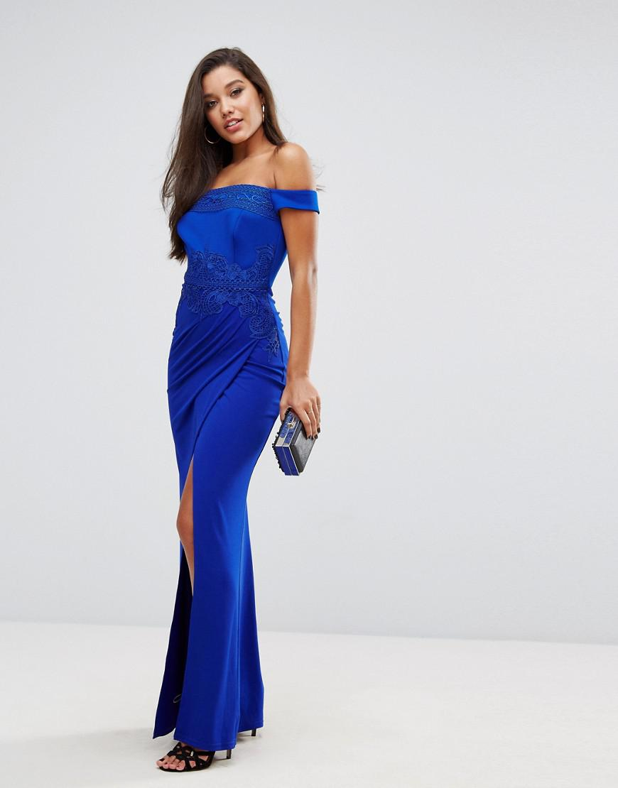 Lyst - Lipsy Off Shoulder Maxi Dress With Lace Trim in Blue 2f38a2c8b