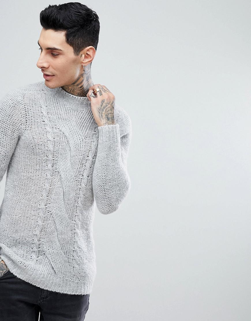 373140a5fa38 Lyst - ASOS Asos Cable Knit Mohair Wool Blend Sweater In Gray in ...