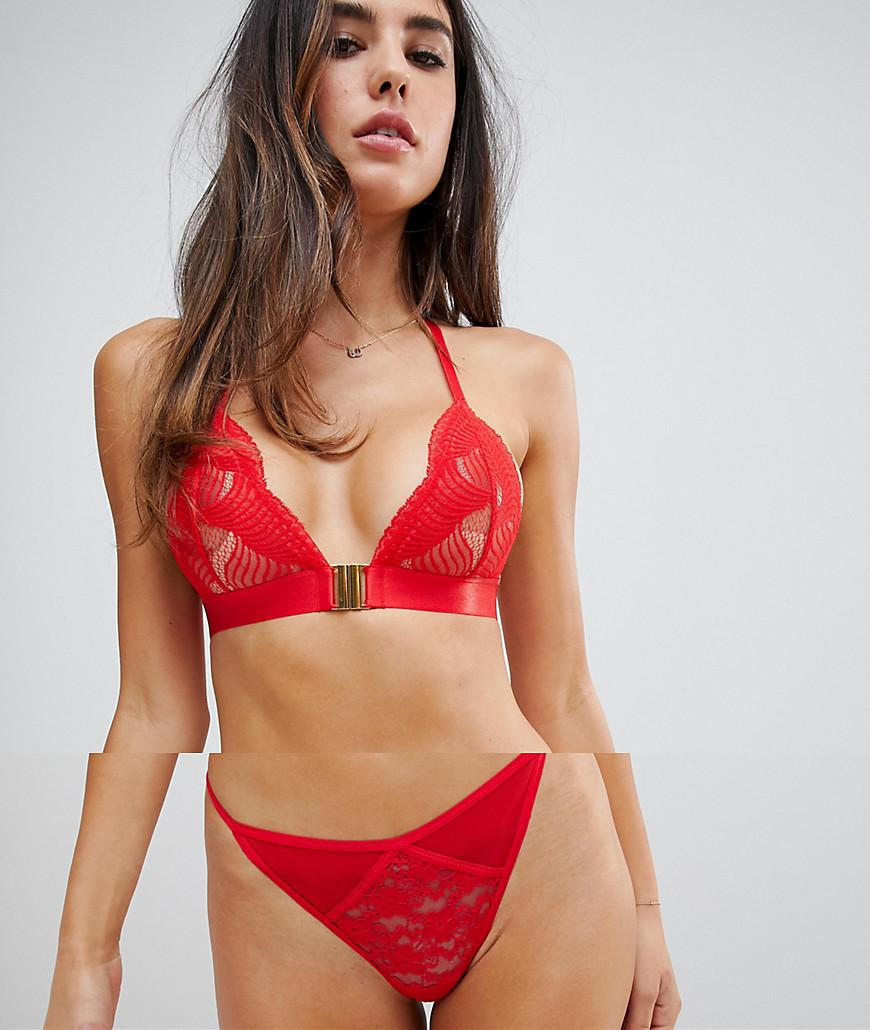 ae844727cb Lyst - ASOS Strappy Mesh   Lace Thong in Red