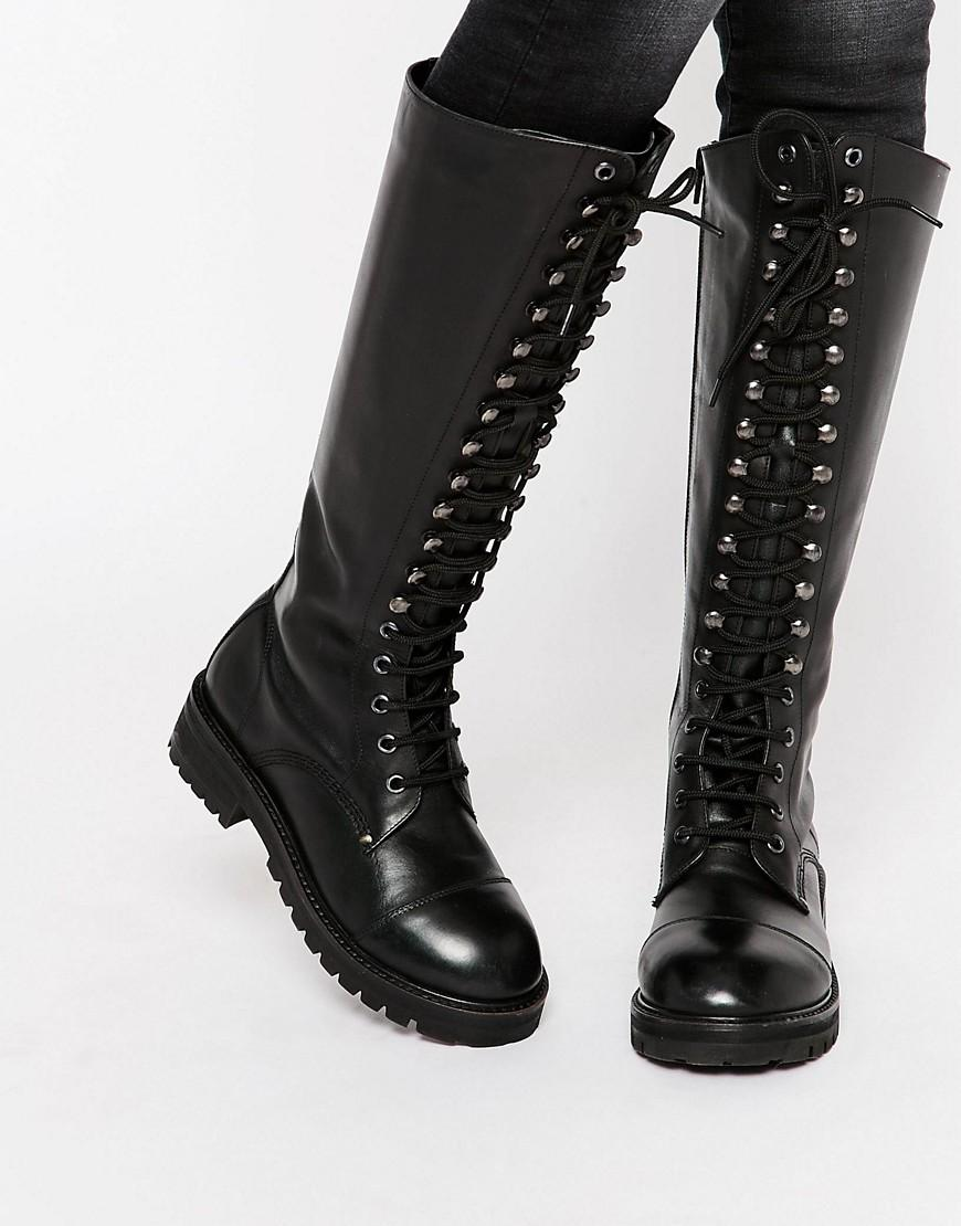 Park Lane Lace Up Chunky Leather Knee Boots In Black Lyst