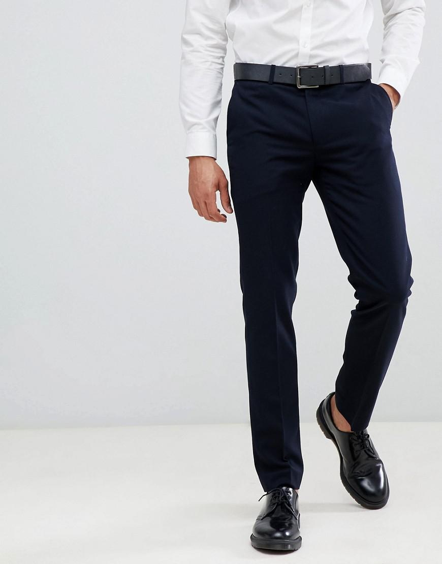 Lyst - Farah Hampton Hopsack Slim Fit Suit Trousers in Blue for Men 117a80866996