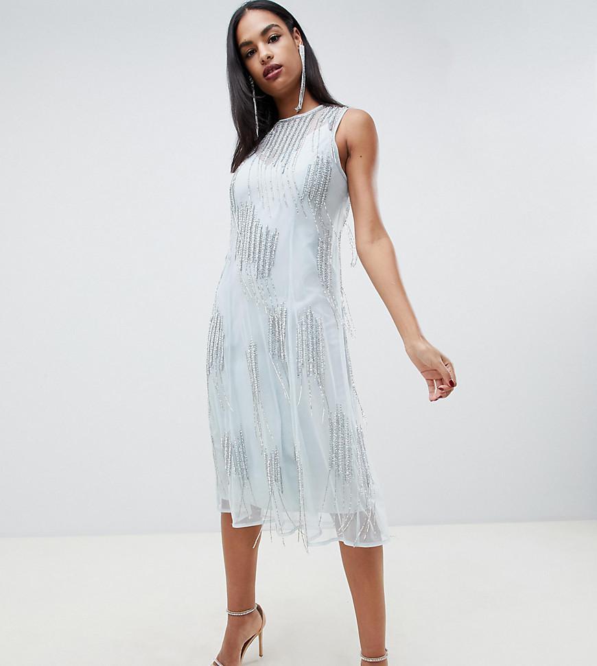 27431386 ASOS Midi Dress With Delicate Tassle Embellishment in Blue - Lyst