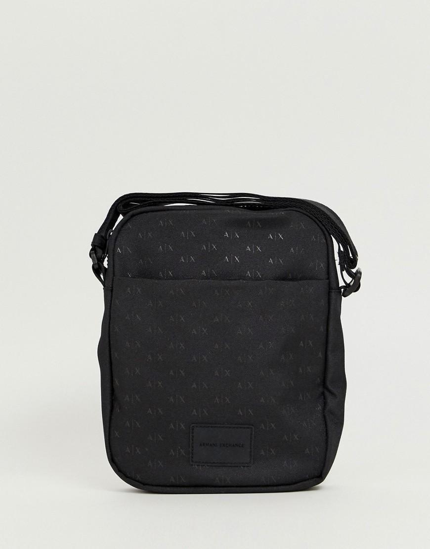 941723736ea3 Armani Exchange Nylon All Over Logo Flight Bag In Black in Black for ...