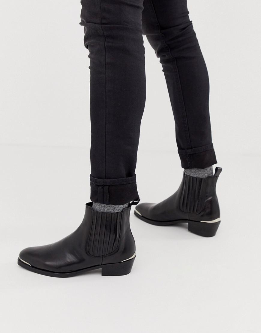 e182a173cb ASOS Stacked Heel Western Chelsea Boots In Black Leather With Metal ...