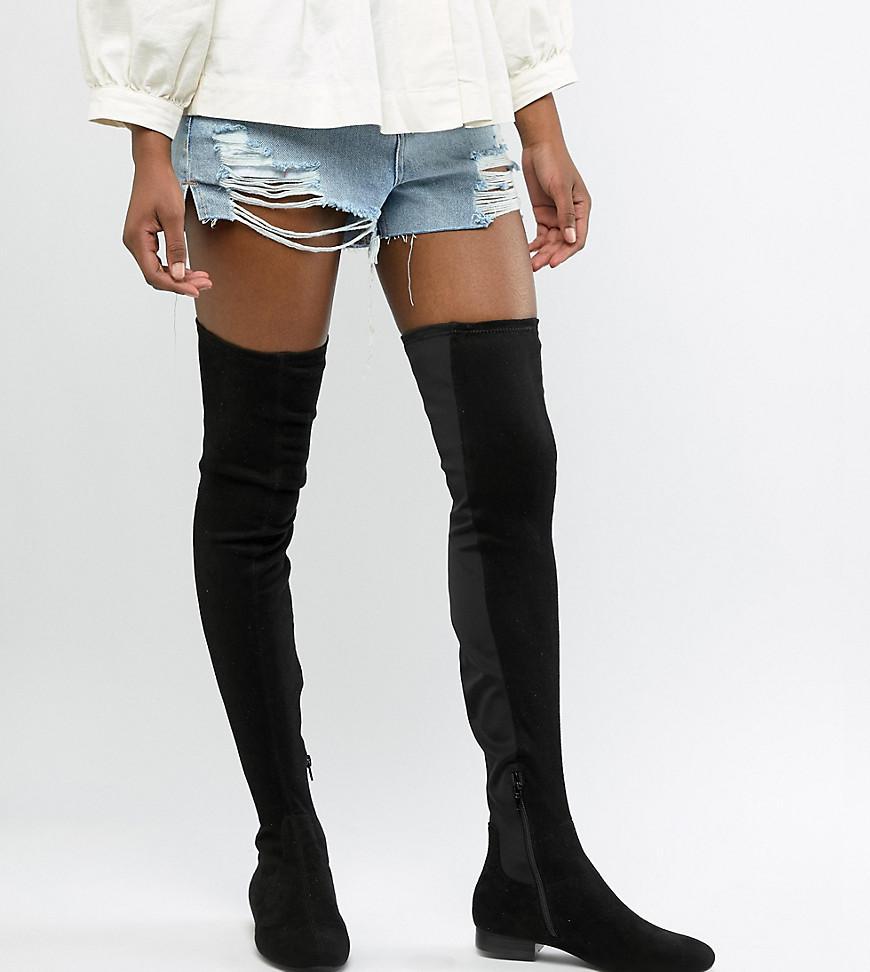 8f1d8c8e426 ASOS - Black Asos Design Tall Kelby Flat Elastic Thigh High Boots - Lyst.  View fullscreen