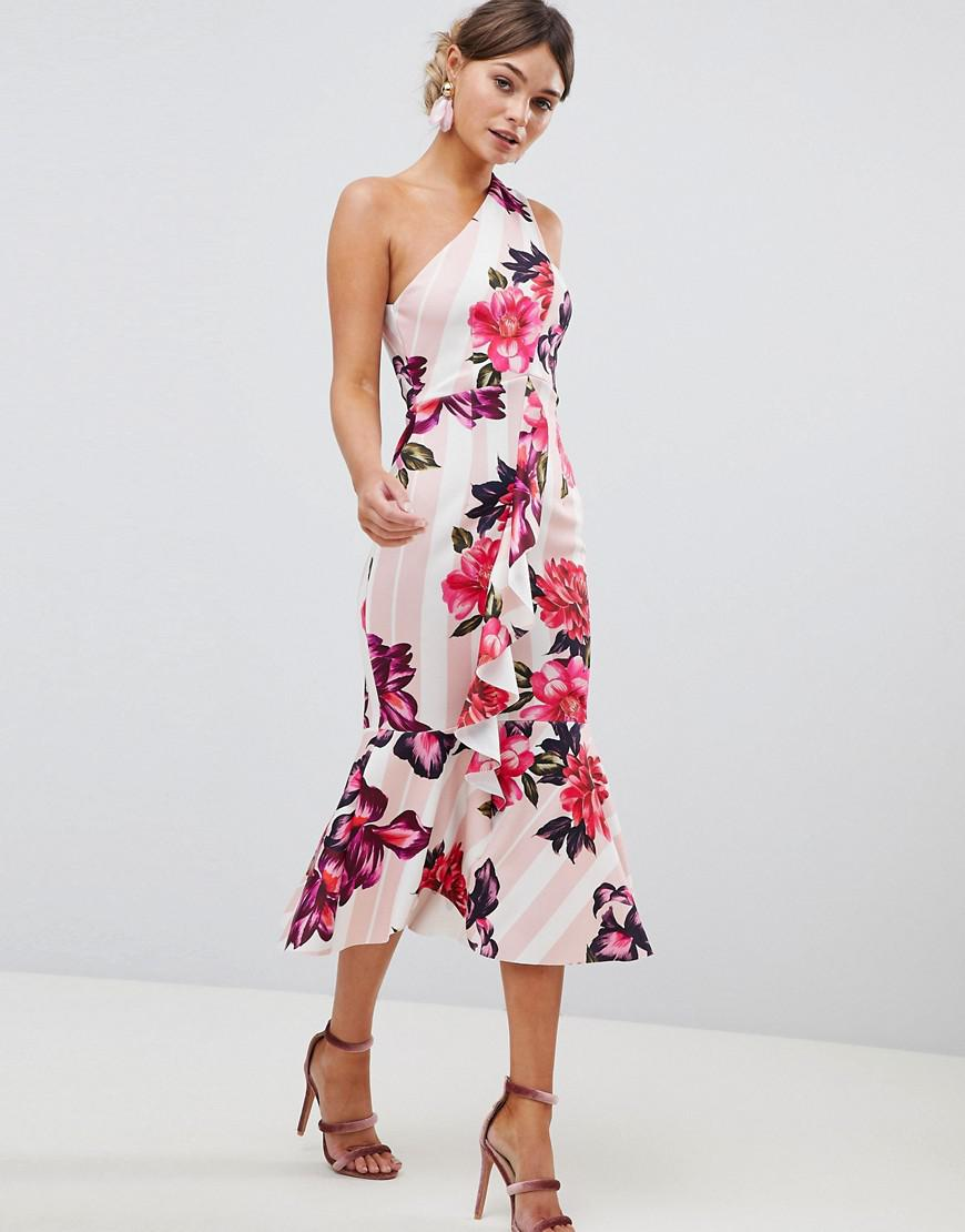 f02311fcd8e ASOS One Shoulder Midi Dress With Floral And Stripe Print - Lyst