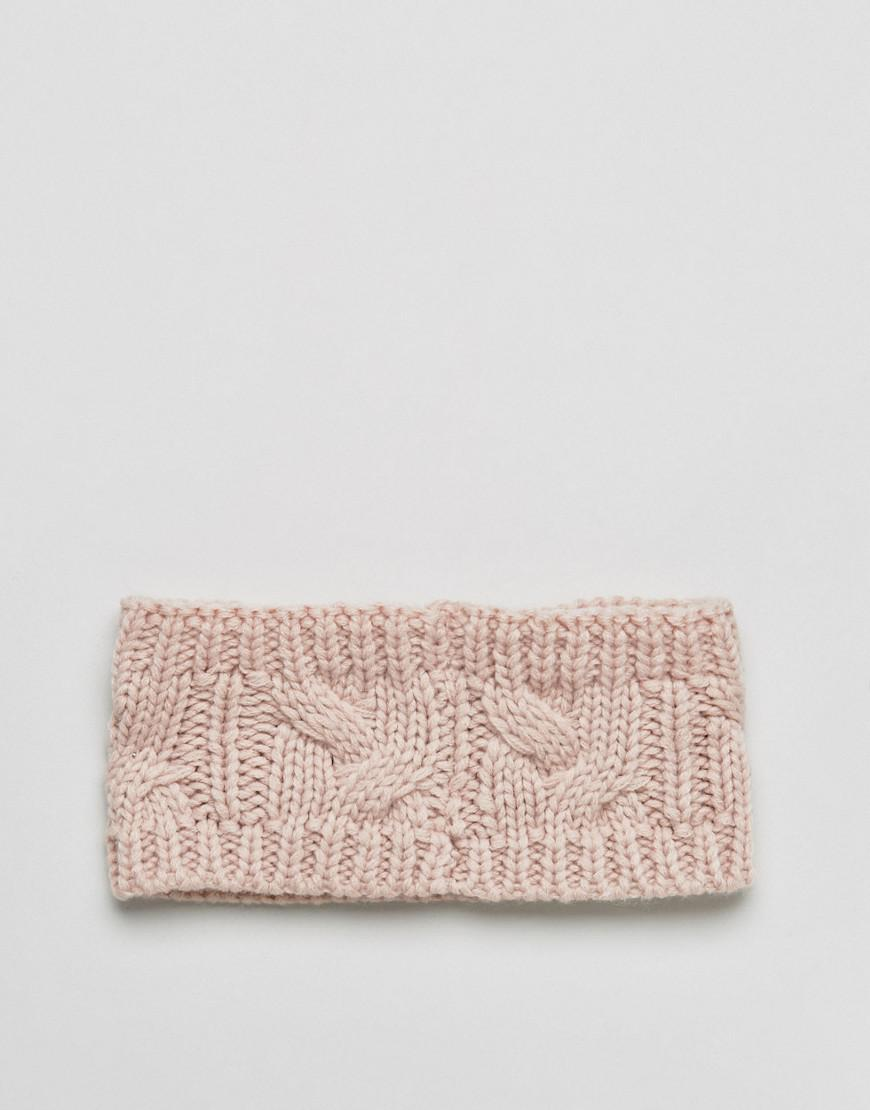 Lyst - Stitch & Pieces Knitted Cable Headband In Pink in Pink