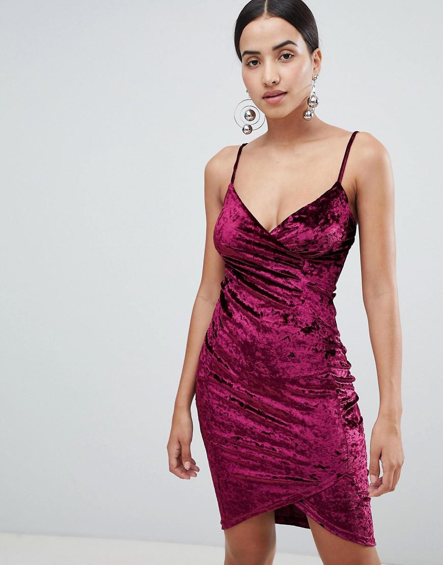Ax Paris Wrap Front Velvet Mini Dress in Purple - Lyst 5a4b9a2d9