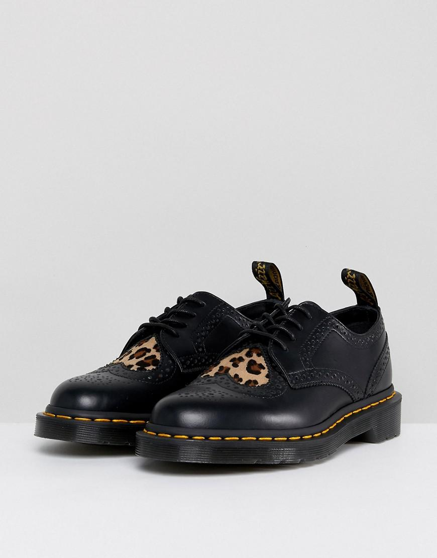 df38119528bd Dr. Martens Joyce Flat Lace Up Shoes With Leopard Heart in Black - Lyst