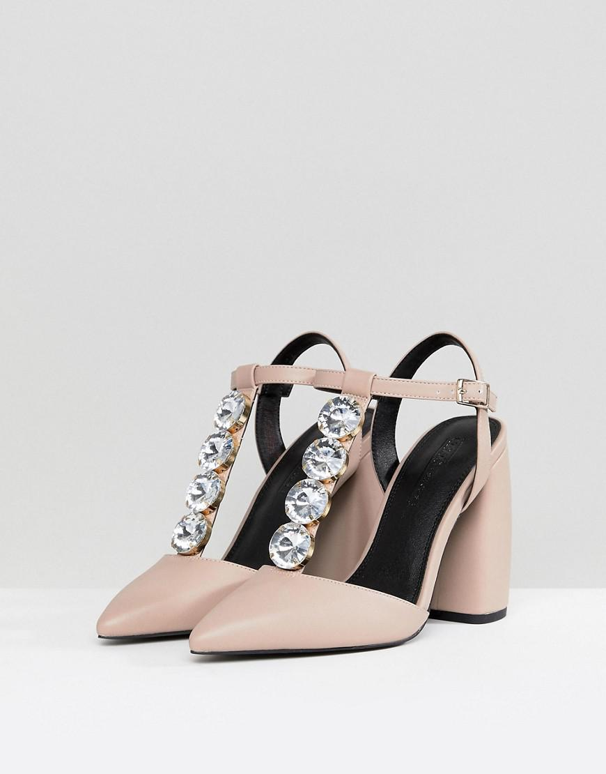 6b501c498a77 Lyst - ASOS Asos Peacock Embellished High Heels in Natural