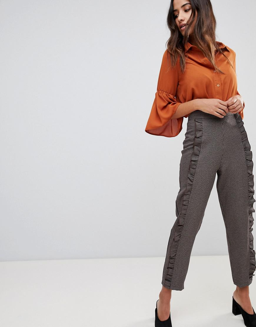 Many Kinds Of For Sale Release Dates Authentic Check Frill Detail Trouser - Brown check Love Buy Cheap Explore 5P4cC