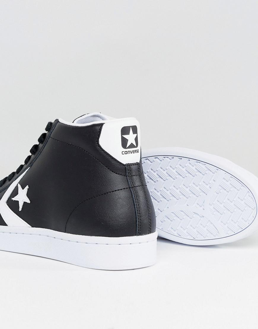 Pro Leather Mid Trainers In Black 157717C - Black Converse puZjEY