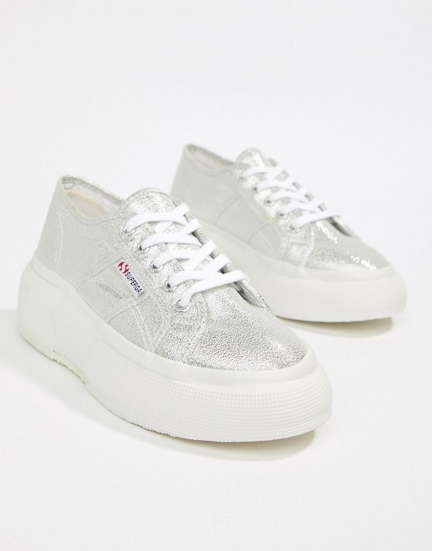9edffa9c7792 Superga 2287 Silver Wedge 5cm Platform Sneakers in Gray - Lyst