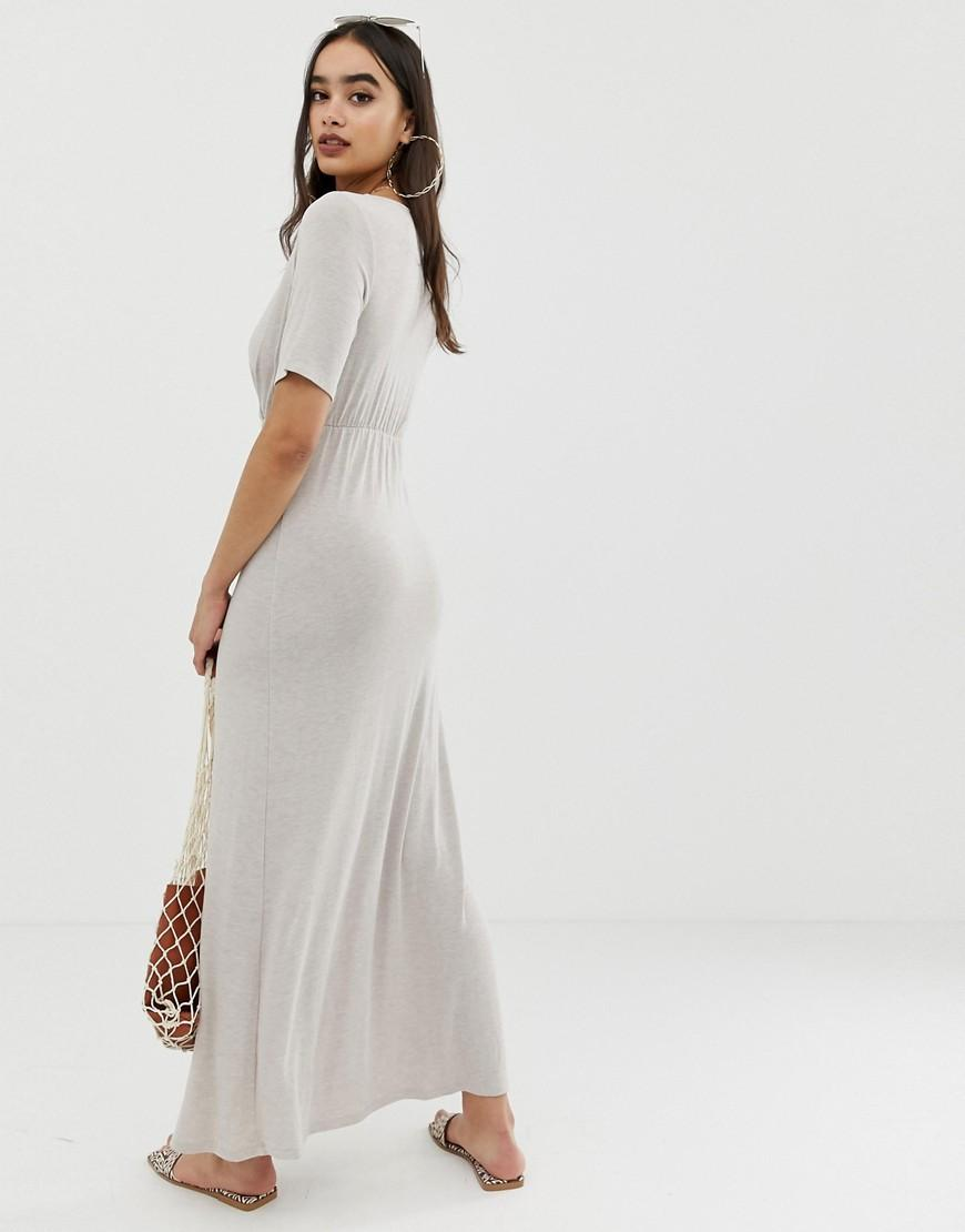 ba2fed2a39 Lyst - ASOS Button Through Wrap Front Maxi Dress in Natural