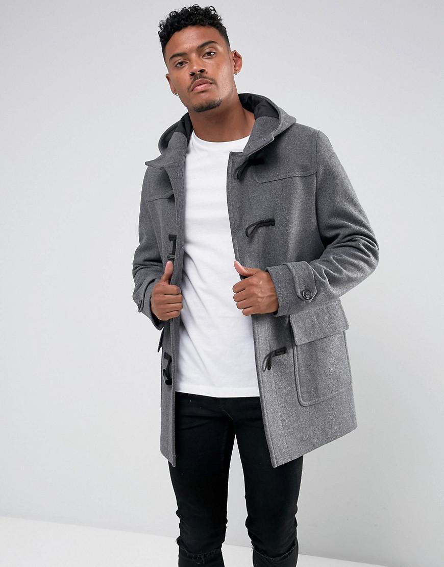 ee40faeb12e3 Lyst - ASOS Wool Mix Duffle Coat In Light Gray in Gray for Men