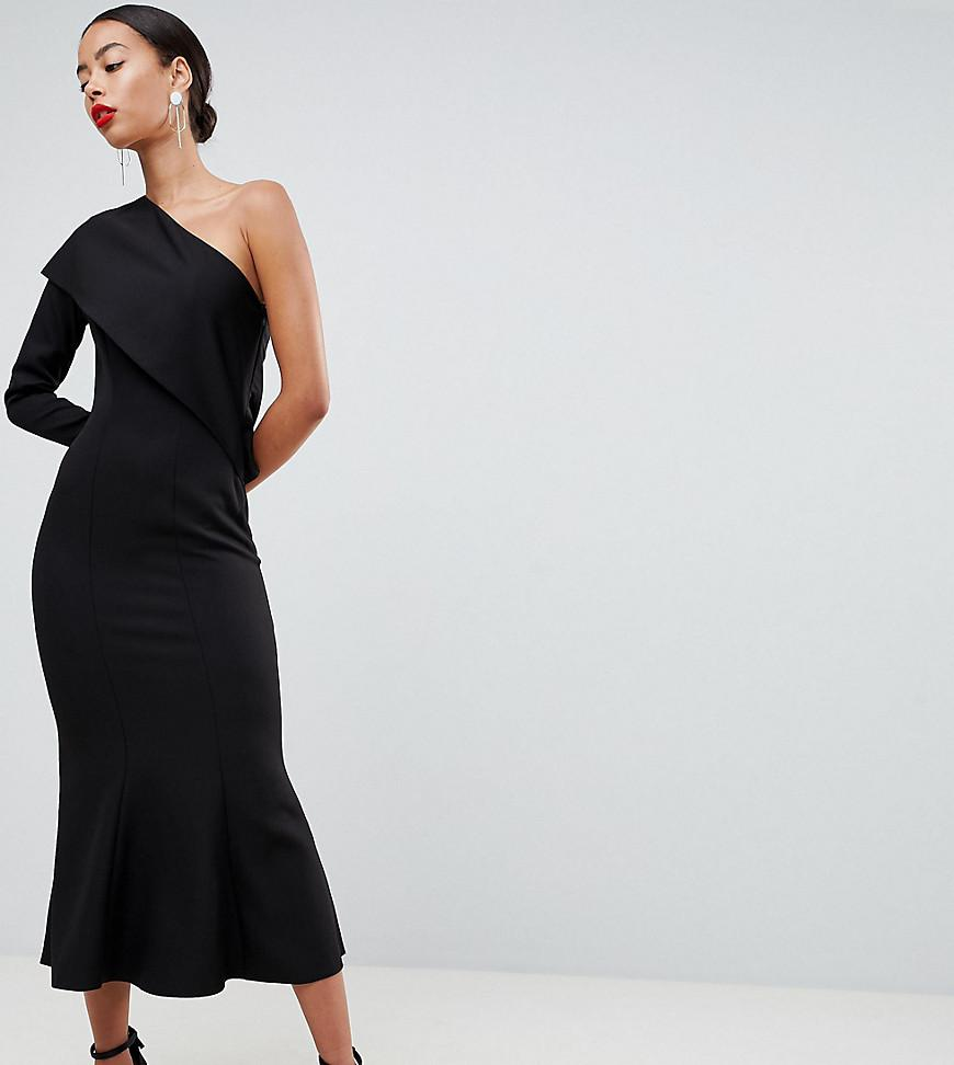 8f88009daeeba2 Lyst - ASOS Asos Design Tall One Shoulder Fit And Flare Midi Dress ...