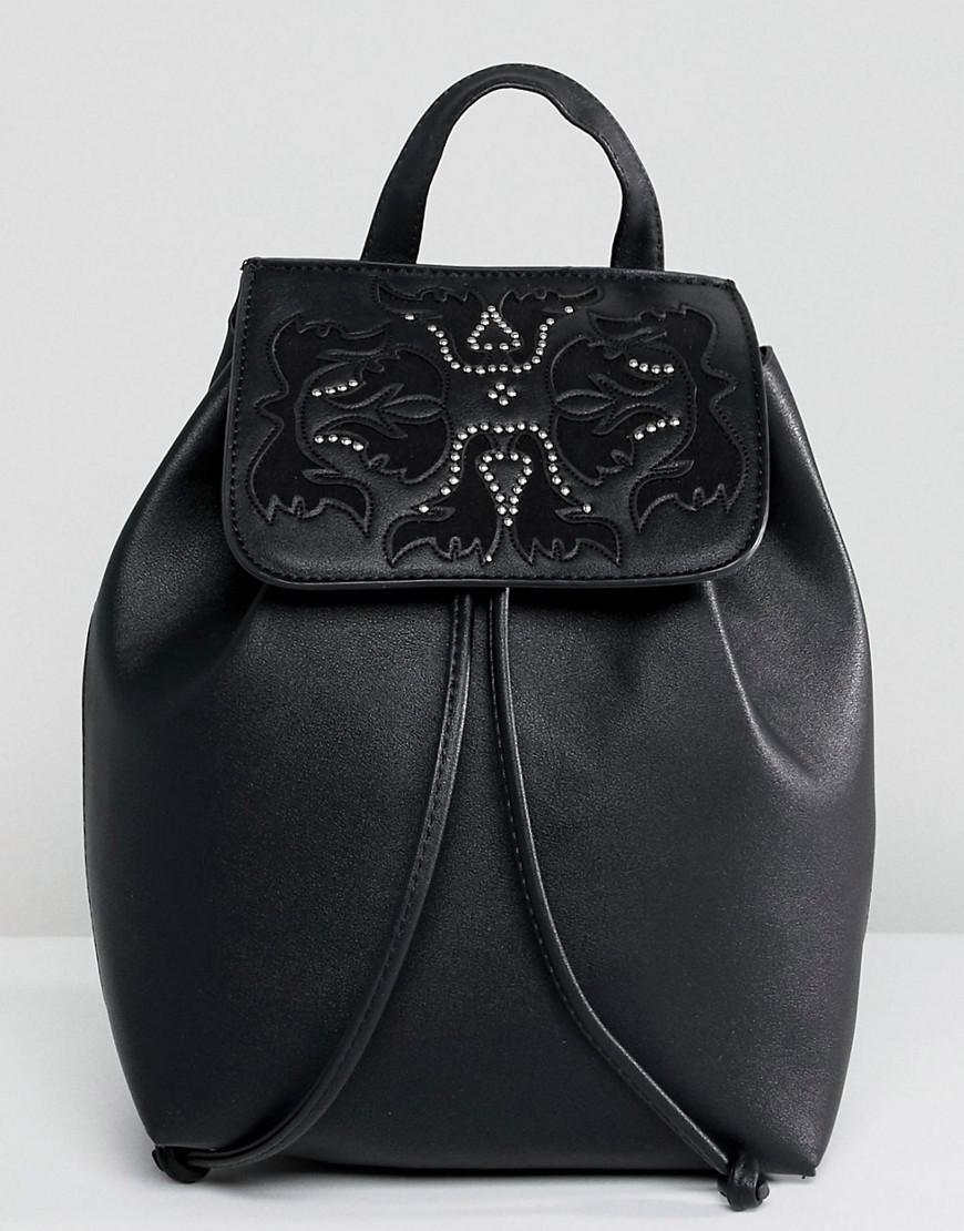 Real Leather Western Buckle Backpack - Black Park Lane wRh0G6wioG