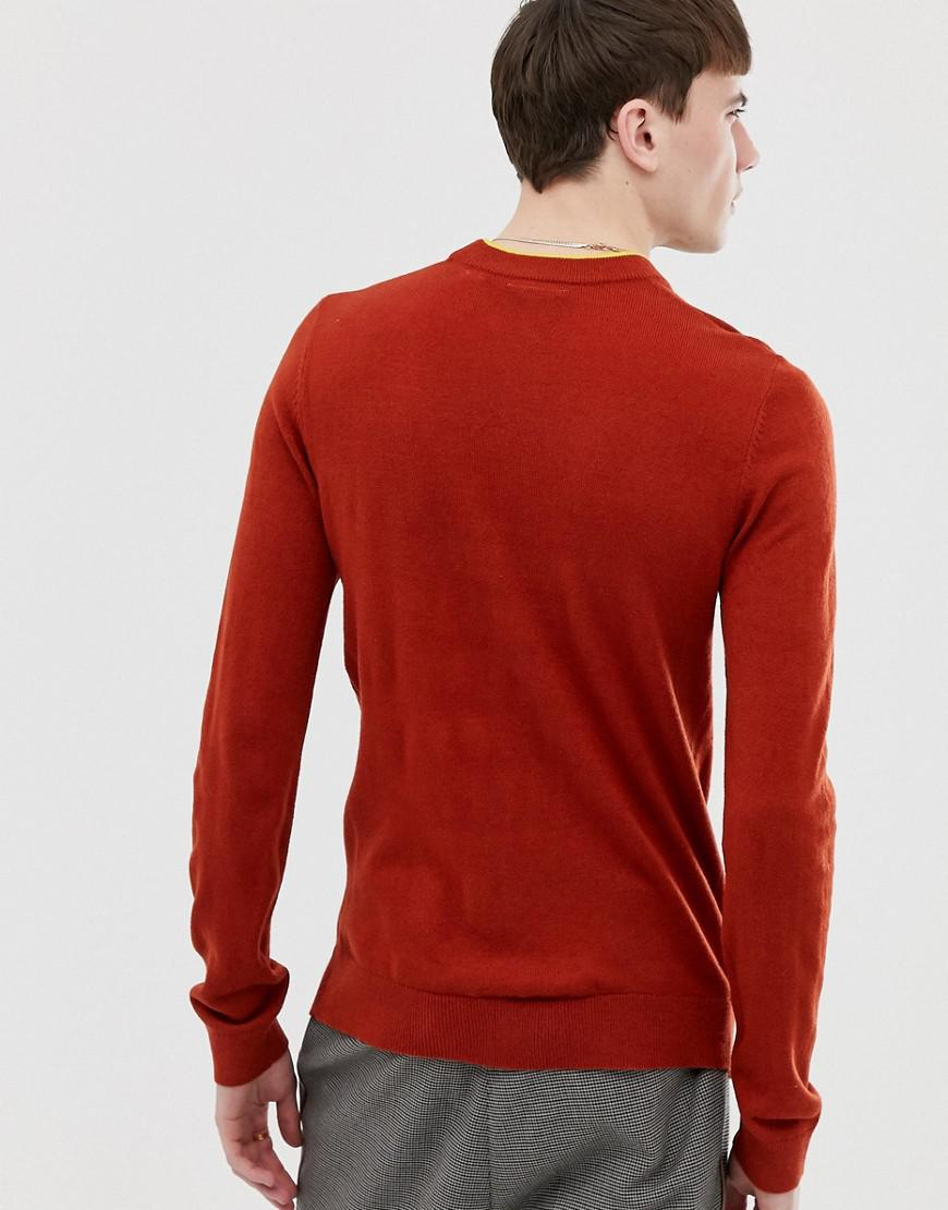 266b20017 Lyst - Collusion Muscle Fit Crew Neck Sweater In Rust With Mustard Tipping  in Brown for Men