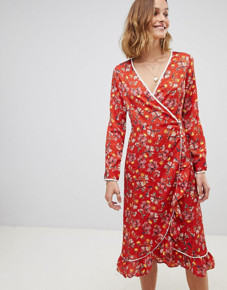 e9bca543ced46 Free People Covent Garden Floral Wrap Dress in Red - Save 36% - Lyst