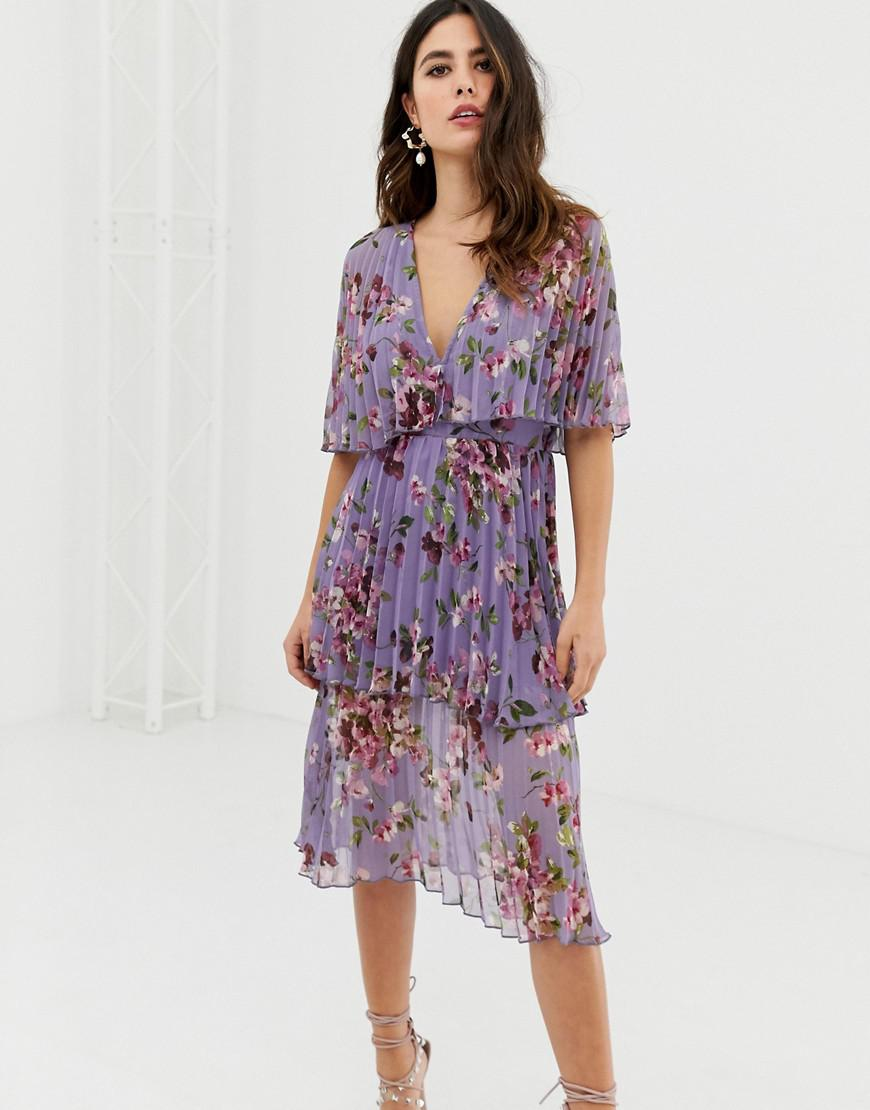 de93021b3d88 Lyst - ASOS Soft Pleated Tiered Midi Dress In Lilac Floral in Purple