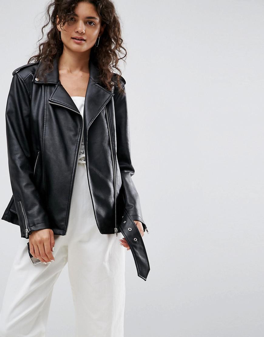 8fae385f2 ASOS Longline Biker Jacket In Faux Leather in Black - Lyst