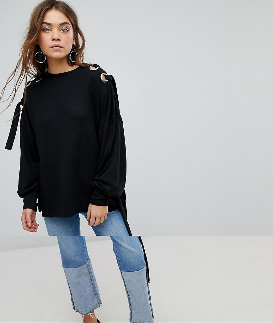 7b3dea2c90a5d7 ONLY - Black Sweater With Eyelet Detail - Lyst. View fullscreen