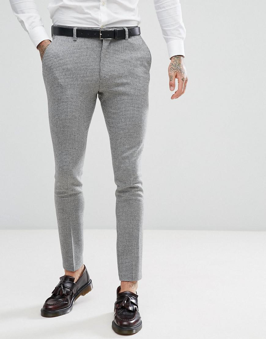 87619c63eb8e ASOS Asos Super Skinny Suit Trousers In Grey Houndstooth in Gray for ...