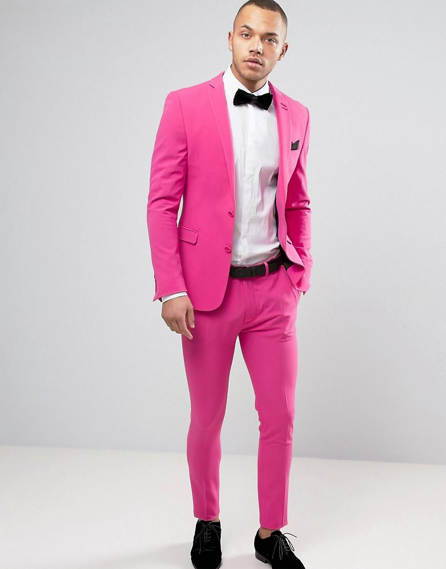 Lyst - Asos Super Skinny Prom Suit Jacket In Pink in Pink for Men