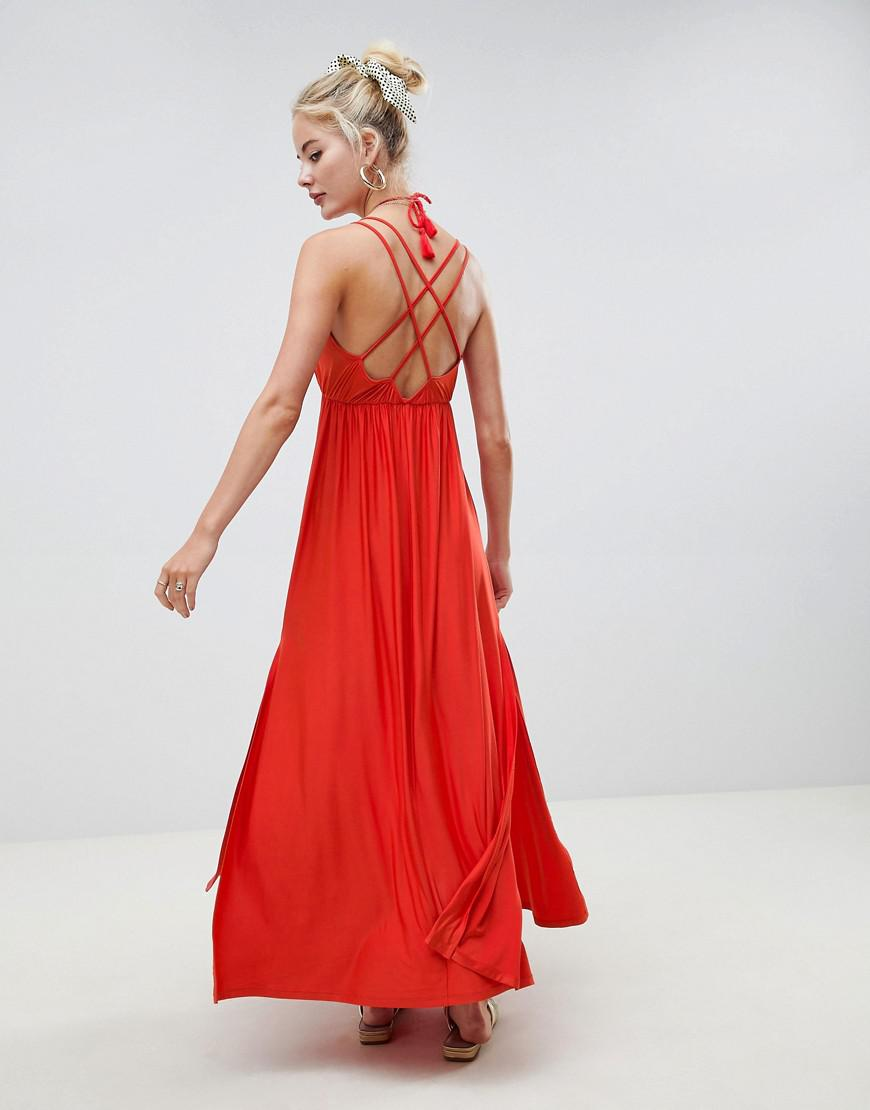 a49ae3fd125c6 Lyst - ASOS Maxi Dress With Cross Back And Rope Tie in Blue
