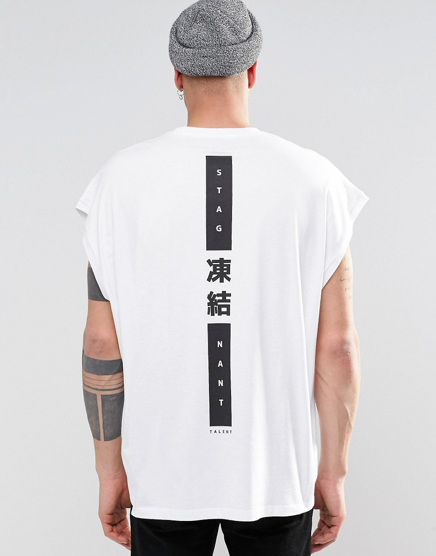 Asos super oversized sleeveless t shirt with japanese text Japanese clothing designers
