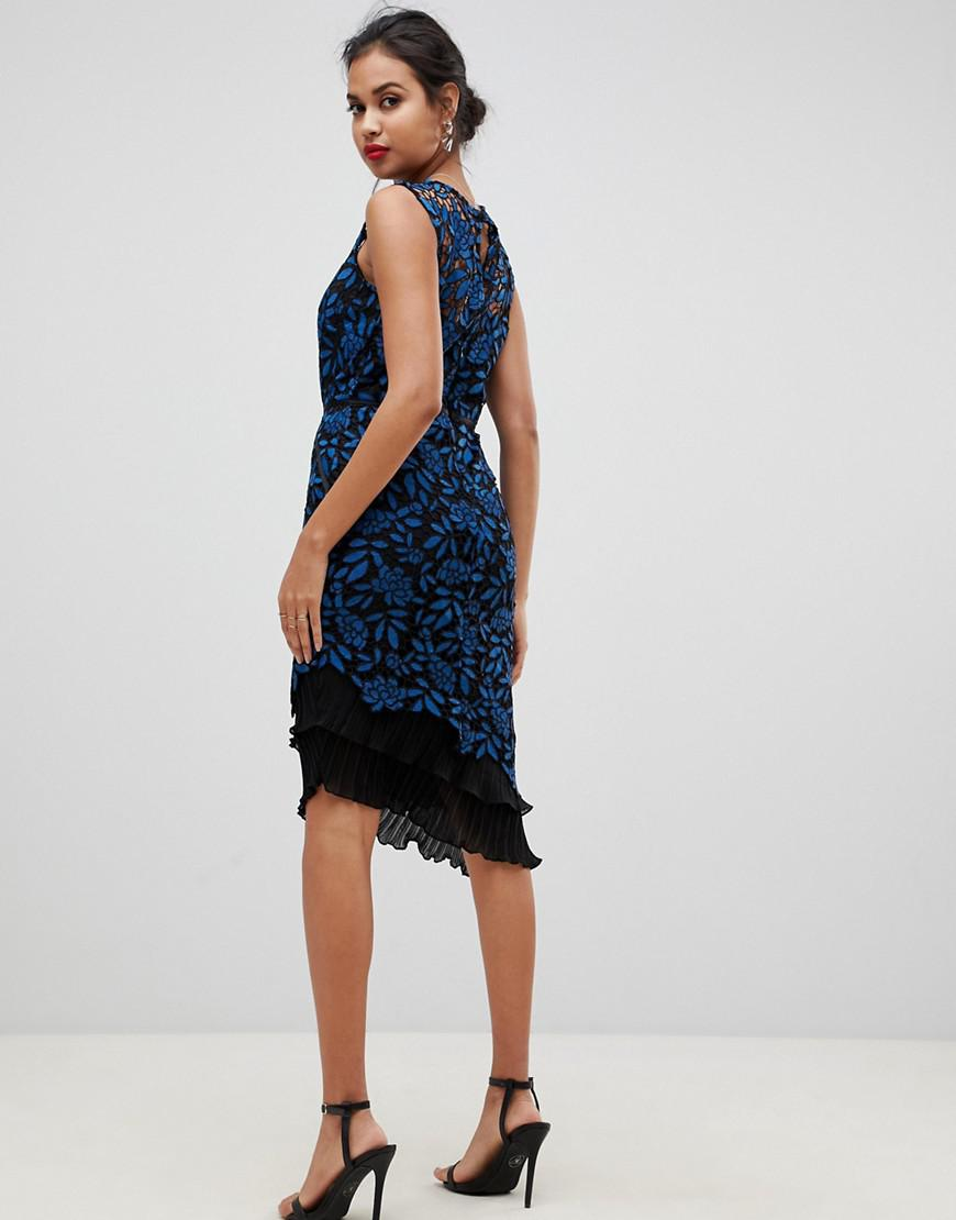 60024aee926a Lipsy Allover Lace Bodycon Dress With Frill Hem In Print in Blue - Lyst