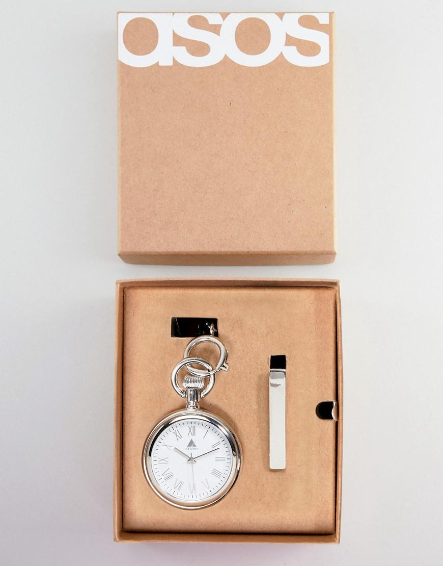 3b72a8e21332 ASOS Design Wedding Gift Set With Pocket Watch And Tie Bar In Silver ...