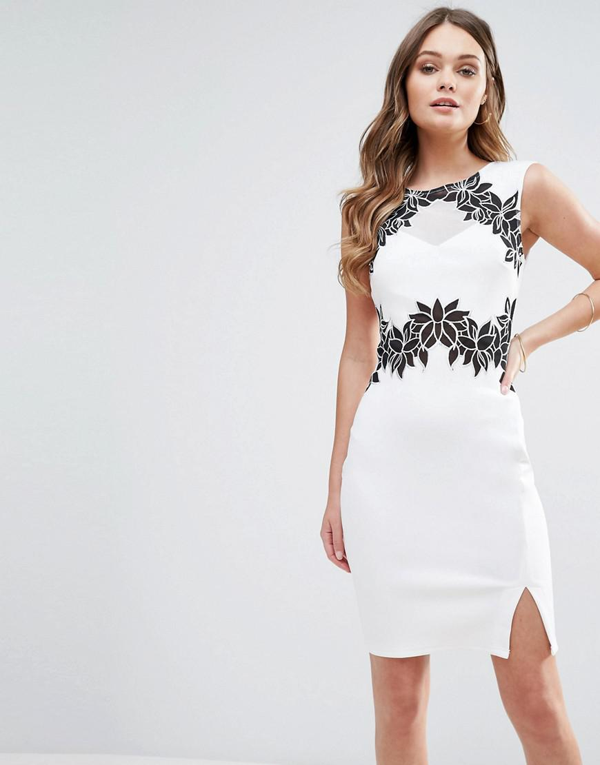 f7282dd4fc6b0 Lipsy Pencil Dress With Floral Detail in White - Lyst