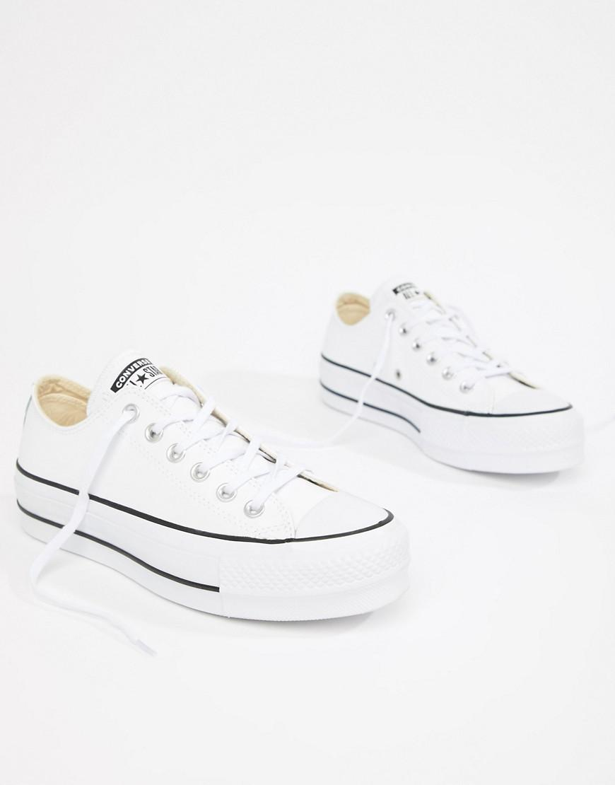 c3a23f52dc2061 Converse. Women s Chuck Taylor All Star Leather Platform Low Trainers In  White