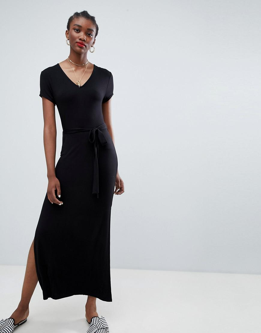 8f2694e08b New Look Plain V Neck T-shirt Maxi Dress in Black - Lyst