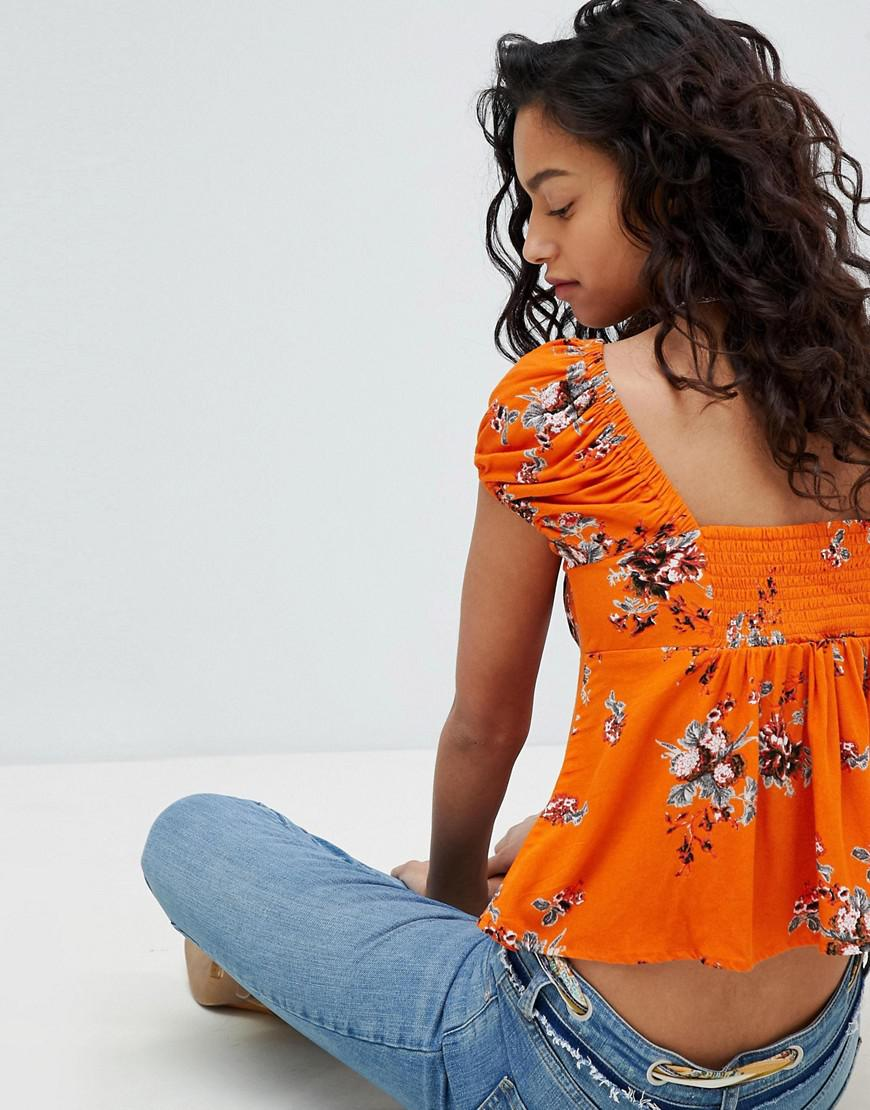 d934b82bc95fa Free People Close To You Printed Top in Orange - Lyst