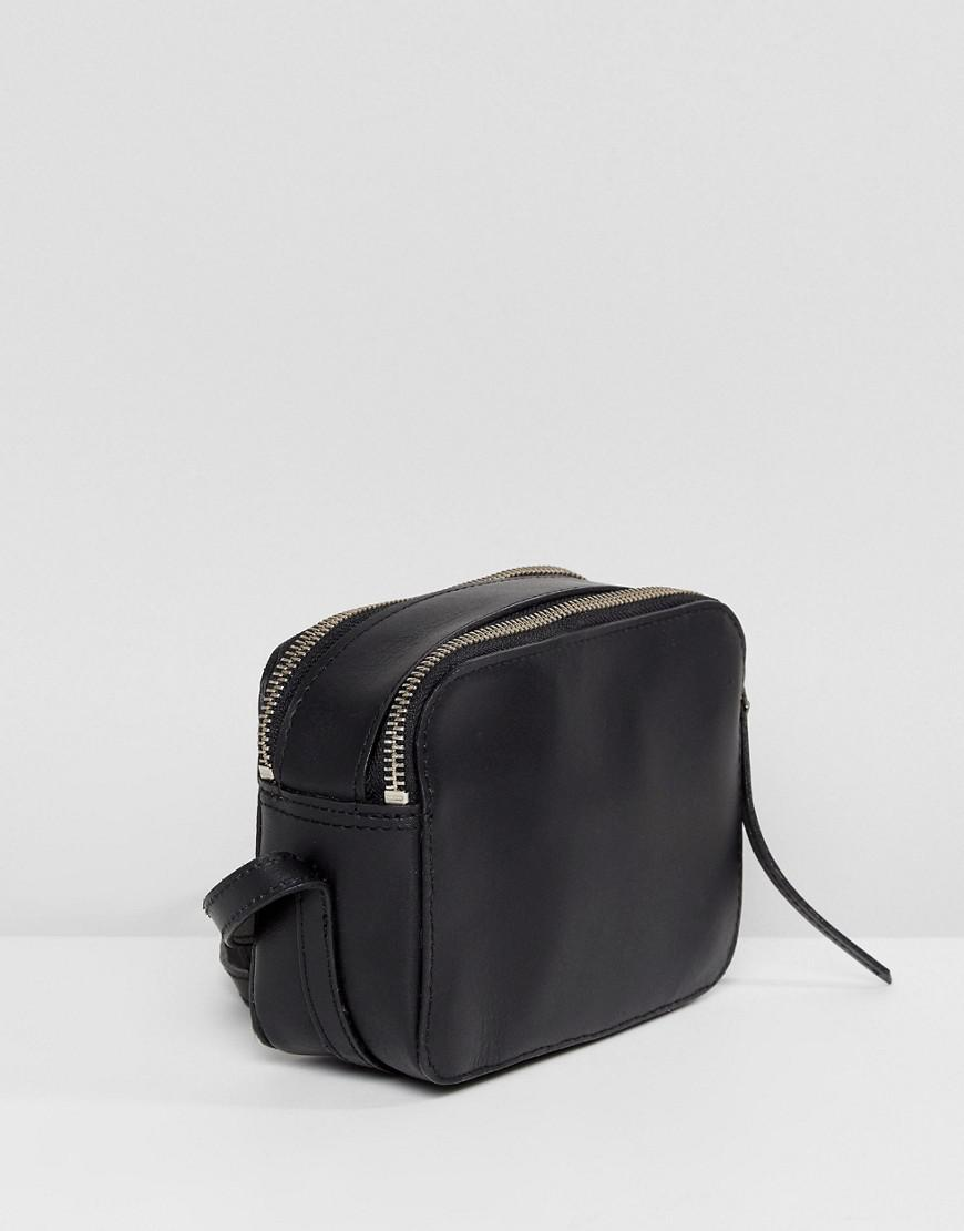 00bf259676ed ASOS Leather Camera Cross Body Bag in Black - Lyst
