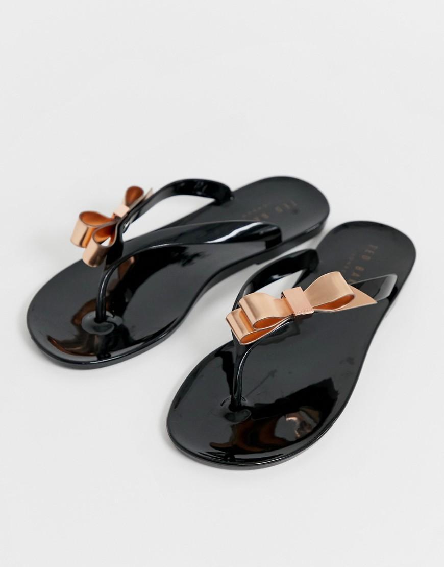 4924b30de Lyst - Ted Baker Black Jelly Bow Detail Flip Flops in Black