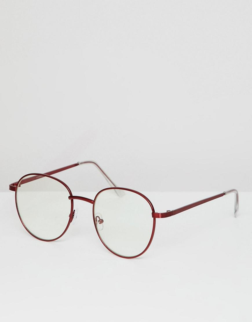 35402fe18b22f Asos Round Glasses In Red Metal With Clear Lens in Red for Men - Lyst